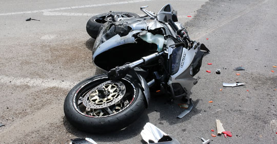 motorcycle that has been in an accident